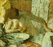 Women Pastels Posters - Woman at her Toilet Poster by Edgar Degas