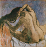 Feminine Pastels Prints - Woman Combing her Hair Print by Edgar Degas