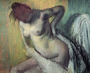 Philadelphia Painting Metal Prints - Woman Drying Herself Metal Print by Edgar Degas
