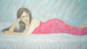 Fun Pastels Posters - Woman In Red Dress Poster by Masami Iida