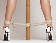 Bdsm Framed Prints - Woman Legs Tied With Ropes to Bamboo Framed Print by Oleksiy Maksymenko