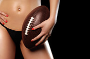 Girl Sports Posters - Woman with a Football Poster by Oleksiy Maksymenko