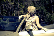 Open Door Prints - Woman With Convertible Print by Joana Kruse