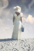 Blue Necklace Posters - Woman With Suitcase Poster by Joana Kruse