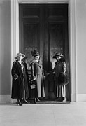 Furs Prints - Women Suffragists At The Doors Print by Everett