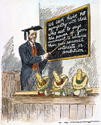 Democratic System Posters - Woodrow Wilson Cartoon Poster by Granger