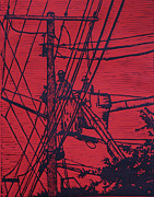 Linocut Metal Prints - Working on Lines Metal Print by William Cauthern
