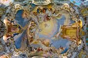 Fresco Posters - World heritage frescoes of wieskirche church in bavaria Poster by Ulrich Schade