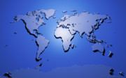 Mapping Digital Art Metal Prints - World Map in Blue Metal Print by Michael Tompsett