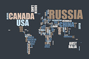 Typography Map Digital Art - World Map in Words by Michael Tompsett