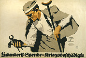 Crutch Framed Prints - World War I, German Poster Shows Framed Print by Everett
