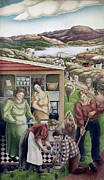 Works Progress Administration Art - Wpa Mural. Society Freed Through by Everett