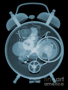 Alarm Clock Prints - X-ray Of An Alarm Clock Print by Ted Kinsman