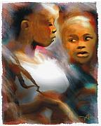Tropical Islands Digital Art - 2 Young Haitian Ladies by Bob Salo