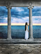 Bracelets Posters - Young Woman as a Classical Woman of Ancient Egypt Rome or Greece Poster by Jill Battaglia