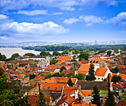 Shingle Framed Prints - Zemun rooftops in Belgrade Framed Print by Elena Elisseeva