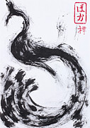 Inkwash Framed Prints - Zen Peacock Framed Print by Thammarat ZenMaster