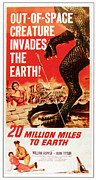 1950s Poster Art Framed Prints - 20 Million Miles To Earth, Bottom Framed Print by Everett