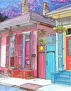 Mardi Drawings - 20  Violet Clouds in a French Quarter sky by John Boles