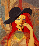 Red Hair Framed Prints - 200 - Woman with black hat  Framed Print by Irmgard Schoendorf Welch