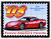 Corvette Postage Stamps Series - 2003 50th Anniversary Edition Corvette by K Scott Teeters