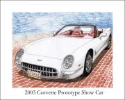 American Cars Drawings Posters - 2003 Corvette Prototype Poster by Jack Pumphrey