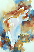 Rust Painting Prints - 2004 Cat on the Prowl  I  Print by Kathy Braud