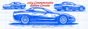 American Muscle Digital Art Prints - 2004 Commemorative Edition Corvette Blueprint Print by K Scott Teeters