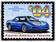 Corvette Postage Stamps Series - 2004 Commemorative Edition Corvette by K Scott Teeters