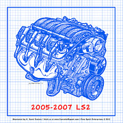 Corvette Engine Blueprints - 2005 - 2007 LS2 Corvette Engine Blueprint by K Scott Teeters