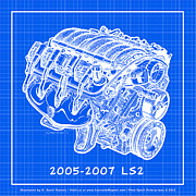 Corvette Engine Blueprints - 2005 - 2007 LS2 Corvette Engine Reverse Blueprint by K Scott Teeters