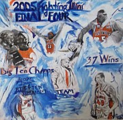 University Of Illinois Paintings - 2005 Fighting Illini Basketball by John Sabey Jr