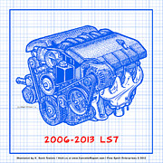 2009 Drawings Prints - 2006 - 2013 Z06 LS7 Corvette Engine Blueprint Print by K Scott Teeters