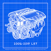 Corvette Engine Blueprints - 2006 - 2013 Z06 LS7 Corvette Engine Reverse Blueprint by K Scott Teeters