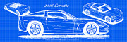 Corvette Art Print Digital Art - 2006 Corvette Blueprint Series by K Scott Teeters