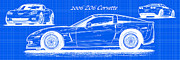 Corvette Art Print Digital Art - 2006 Z06 Corvette Blueprint Series by K Scott Teeters