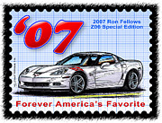 Corvette Postage Stamps Series - 2007 Ron Fellows Z06 Special Edition Corvette by K Scott Teeters
