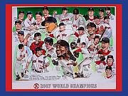Red Sox Drawings Metal Prints - 2007 World Series Champions Metal Print by Dave Olsen