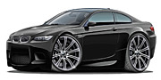 Bmw M1 Posters - 2008-11 BMW e92 M3 Black Coupe Poster by Maddmax
