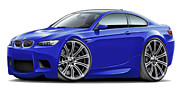 Bmw M1 Posters - 2008-11 BMW e92 M3 Blue Coupe Poster by Maddmax