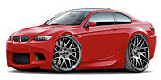 Bmw M1 Posters - 2008-11 BMW e92 M3 ZCP Red Coupe Poster by Maddmax
