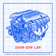 2009 Drawings Prints - 2008-2013 LS3 Corvette Engine Blueprint Print by K Scott Teeters
