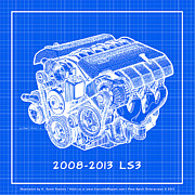 2009 Drawings Prints - 2008-2013 LS3 Corvette Engine Reverse Blueprint Print by K Scott Teeters