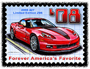 Corvette Postage Stamps Series - 2008 427 Limited Edition Z06 by K Scott Teeters