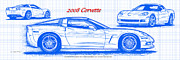 Corvette Art Print Digital Art - 2008 Corvette Blueprint by K Scott Teeters