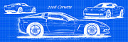 Corvette Art Print Digital Art - 2008 Corvette Reverse Blueprint by K Scott Teeters