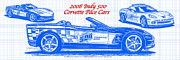 Indy Car Drawings Posters - 2008 Indy 500 Corvette Pace Car Blueprint Series Poster by K Scott Teeters