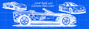 Corvette Art Print Digital Art - 2008 Indy 500 Corvette Pace Cars Blueprint Series - Reversed by K Scott Teeters
