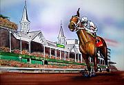 Kentucky Derby Drawings Prints - 2008 Kentucky Derby Winner Big Brown Print by Dave Olsen