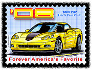 Corvette Postage Stamps Series - 2008 ZHZ Hertz Fun Club Corvette by K Scott Teeters